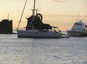 Fascination at anchor at Tangalooma