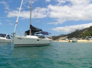 Fascination at anchor with boom tent at Tangalooma