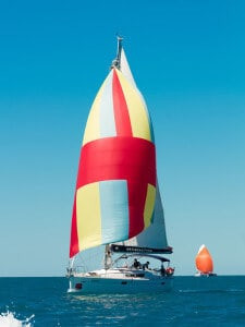 Satisfaction sailing with spinnaker