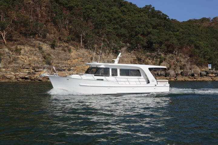 380 Sedan underway on the Pittwater